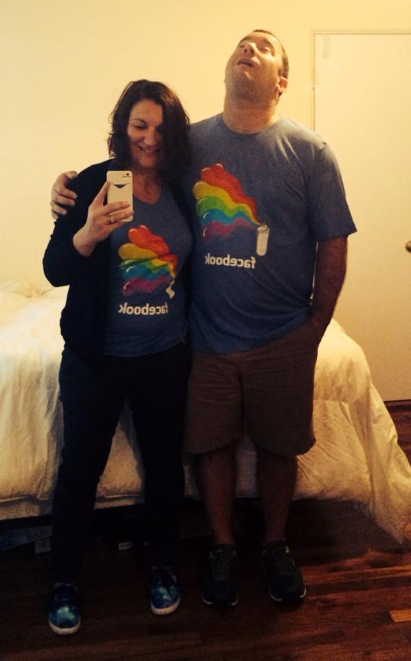 Here is Matt demonstrating exemplary patience while I try to get a decent photo of our new Facebook pride shirts.